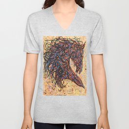 Abstract Horse Digital Ink Pollock Style Unisex V-Neck
