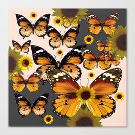 MODERN ART COFFEE & CREAM COLORED BROWN BUTTERFLIES Canvas Print