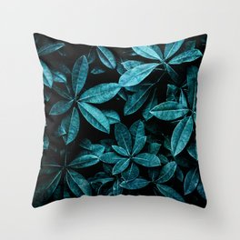 TEAL LEAVES Throw Pillow