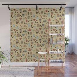 Coffee Love Patten / Cute Coffee Design / Caffeine Addict / Coffee Art / French Press / Coffee Shop Wall Mural