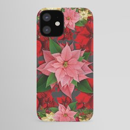 DECORATIVE  RED & PINK POINSETTIAS CHRISTMAS ART iPhone Case