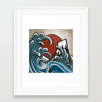 hokusai Framed Art Prints featuring Hokusai comic by Nxolab
