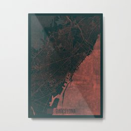 Barcelona Map Red Metal Print