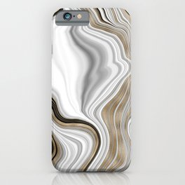 Gilded white liquid marble pattern iPhone Case