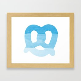 Oktoberfest Bavarian October Beer Festival Pretzel in Bavarian Blue Framed Art Print