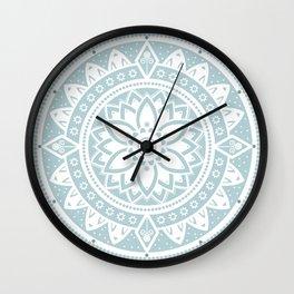 Duck Egg Blue & White Patterned Flower Mandala Wall Clock