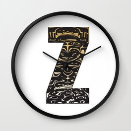Northwest Pacific Coast American Native Totem Letter Z Wall Clock