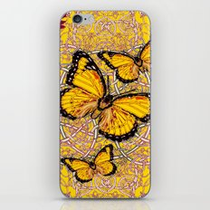 Yellow Monarch Butterflies Burgundy Floral Fantasy iPhone & iPod Skin