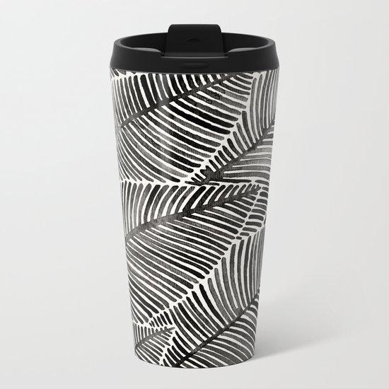 Tropical Palm Leaves – Black Palette Metal Travel Mug