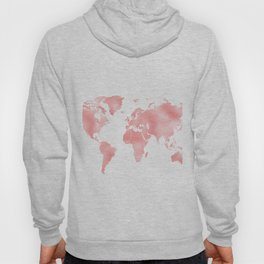 Pink Shiny Metal Foil Rose Gold World Map Hoody