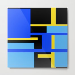 Rectangles - Blues, Yellow and Black Metal Print