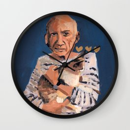 Picasso and cat Wall Clock