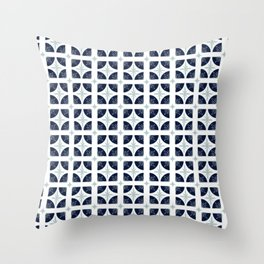 Floral Tile in Indigo and White Throw Pillow