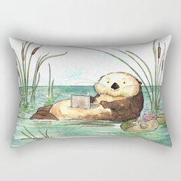 Otter on a Laptop Rectangular Pillow