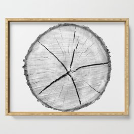 Realistic monotone photo of detailed cut tree slice with rings and organic texture Serving Tray