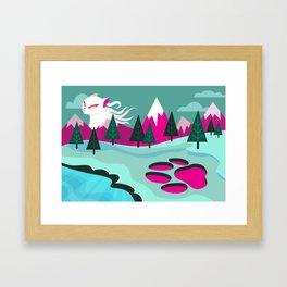 Monster Cat in the Mountains Framed Art Print