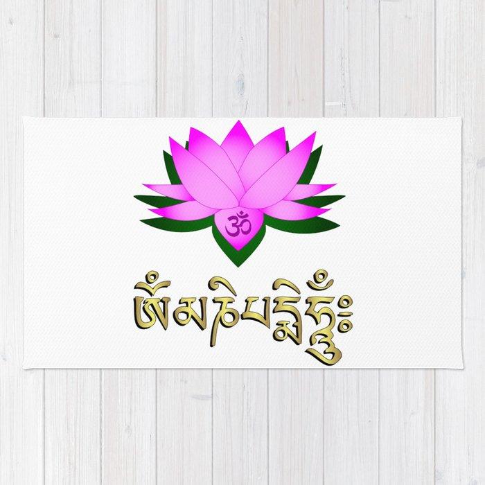 Lotus flower om symbol and mantra om mani padme hum rug by lotus flower om symbol and mantra om mani padme hum rug mightylinksfo