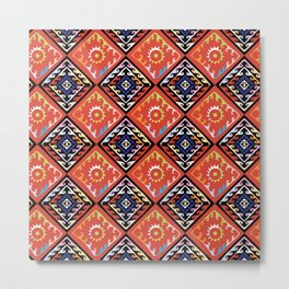 African Basket Weave Multi Pattern Metal Print