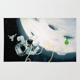 Spaceman Moon Alien and Stars Rug
