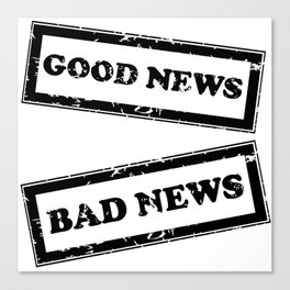 Rubber stamps with Good and Bad news Canvas Print