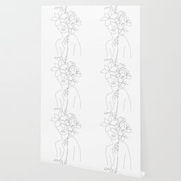 Minimal Line Art Woman with Orchids Wallpaper