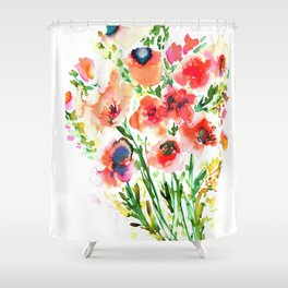 Bouquet Red Shower Curtain