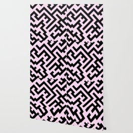 Black and Pink Lace Pink Diagonal Labyrinth Wallpaper