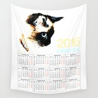 calendar Wall Tapestries featuring 2016 Calendar Siamese Cat by James Peart
