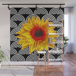 Red Sunflower Floral  Art Deco Pattern Art Wall Mural