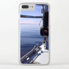 """Seeking the Horizon"" - Sailboat Painting Clear iPhone Case"