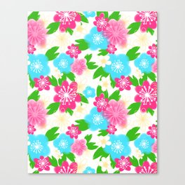 04 Pattern of Watercolor Flowers Canvas Print