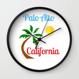 Palo Alto California Palm Tree and Sun Wall Clock