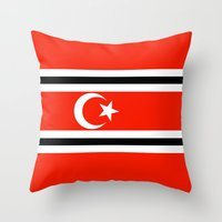 indonesia Throw Pillows featuring aceh indonesia ethnic flag by tony tudor