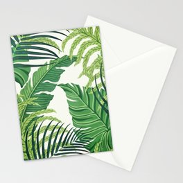 Green tropical leaves II Stationery Cards