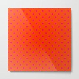 Orange Pop and Hot Neon Pink Polka Dots Metal Print