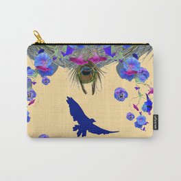 BLUE MORNING GLORIES & FLYING BLUE BIRD ART Carry-All Pouch