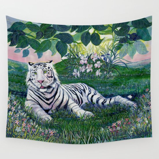 White Siberian Tiger Painting by Catherine Coyle Wall Tapestry