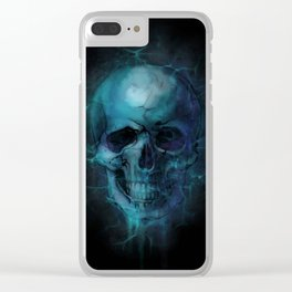 Blue Skull Watercolor Painting Blue Black Print Anatomical Art Medical Office Decor Doctor Gifts Clear iPhone Case