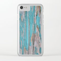 Rustic turquoise weathered wood shabby style Clear iPhone Case