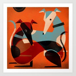 GREYHOUND PAIR Art Print