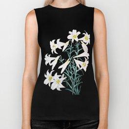white lily branch watercolor Biker Tank