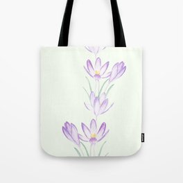 purple botanical crocus flowers Tote Bag