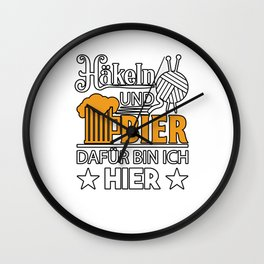 Crochet and Beer Here Needlework Wall Clock