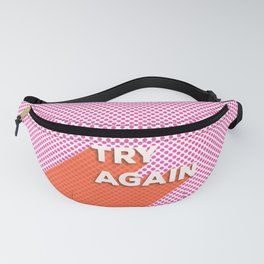 Try Again - modern typography with pink and coral Fanny Pack