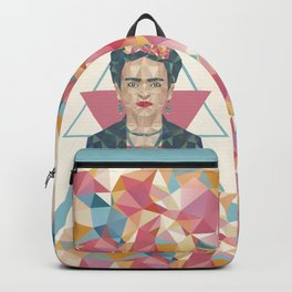 Pastel Frida - Geometric Portrait with Triangles Backpack
