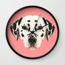 Dalmatian // Pink  Wall Clock