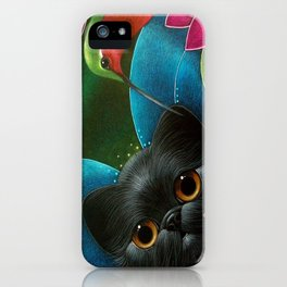 FAIRY KITTEN CAT with RUBY HUMMINGBIRD  iPhone Case