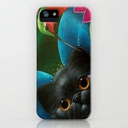 FAIRY KITTEN CAT with RUBY HUMMINGBIRD  iPhone Case