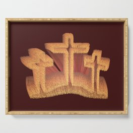 Three Crosses at Calvary Serving Tray