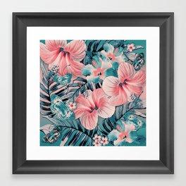 Vintage Jade Coral Aloha Framed Art Print